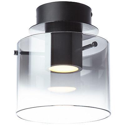 Decken Leuchte Rauchglas LED Lampe Licht Beleuchtung BETH schwarz 800 Lumen