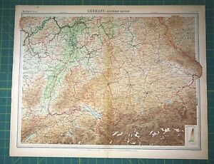 Southern Germany Plate 39 - Vintage 1922 Times World Atlas Antique Folio Map