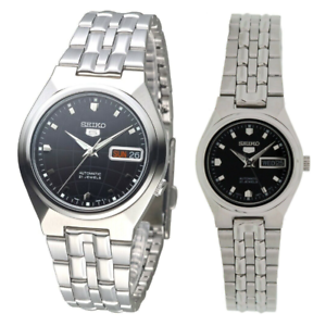 Seiko-5-Classic-Black-Dial-Couple-039-s-Stainless-Steel-Watch-Set