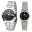 Seiko-5-Classic-Black-Dial-Couple-039-s-Stainless-Steel-Watch-Set thumbnail 1