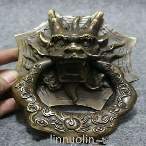 Folk chinese fengshui bronze copper dragon head mask statue gate door knocker ebay - Dragon door knockers for sale ...