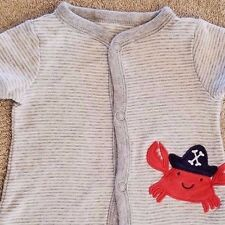 SWEET! BABY CARTER'S NEWBORN GRAY STRIPED CRAB ROMPER OUTFIT