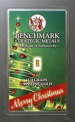 GOLD 1//60 GRAM PURE .999 FINE 24k GOLD CHRISTMAS BAR 3mm X 6mm a2