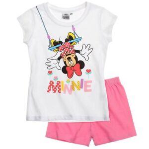 DISNEY-pyjashort-MINNIE-2-4-6-ou-8-ans-pyjama-pyjacourt-blanc-rose-NEUF