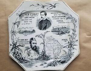 Gimson &Co, Lane Delph, Pottery Congo Relief Expedition Plate HM Stanley Emin Pa