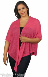 Plus-Size-Open-Front-Cardigan-Wrap-Black-Pink-Blue-NWT-20-22-24
