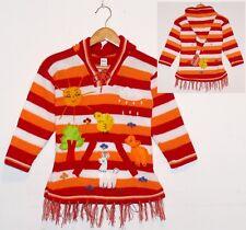 Pullover-Kleid rot-orange weiß-2, Gr.98*104, XXL-Zipfelkapuze,Kinder Peru Alpaka