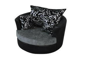 large swivel round cuddle chair chenille fabric grey black snuggle