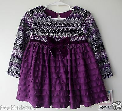 Bonnie Baby Purple Ruffled Dress Baby Girls size 24 Months NWT G82850