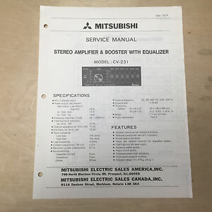 mitsubishi service manual for the cv 231 amplifier booster car rh ebay com Mitsubishi Car Radio Wiring Mitsubishi Eclipse Car Stereo