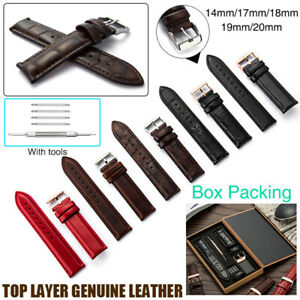 Luxury-Genuine-Leather-Watch-Strap-14-20mm-Silver-Rose-Gold-Buckle-with-Gift-Box