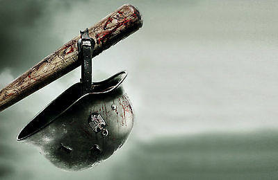 A4 Poster – Nazi World War 2 Helmet Hanging off a Bloody Baseball Bat (Picture)