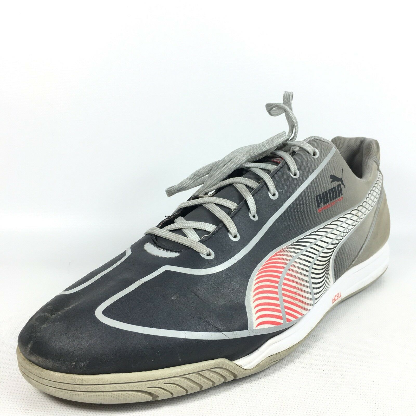 "PUMA ""Faas"" Mens 13 Gray White Dark Blue Tec Suede Athletic Sneakers The latest discount shoes for men and women"