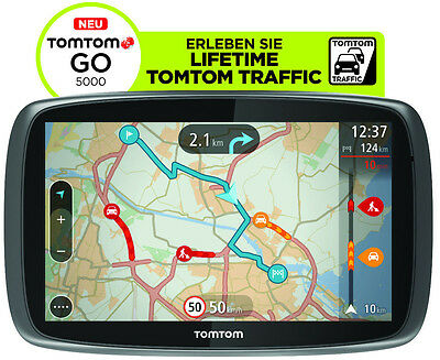 TomTom GO 5000 M Europa Lifetime HD-Traffic + Free 3D Maps EU XXL Tap&Go GPS WOW