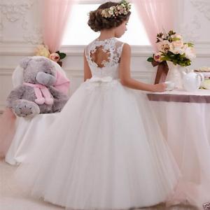 Flower Girl DressGirls White First Holy Communion Dresses Sash Beading With Bow