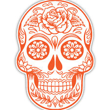 Sugar Skull orange car sticker day of the dead tattoo flower van caravan 7x10cm