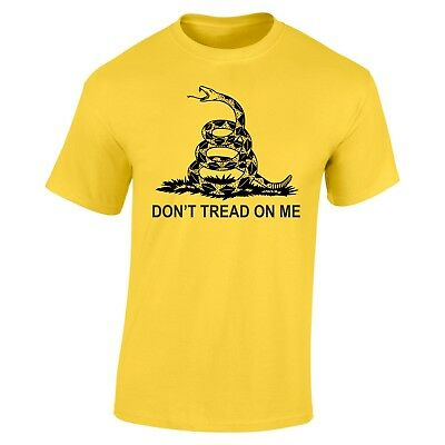Gadsden Snake Flag Don/'t Tread On Me T-Shirt Yellow 100/% Soft Cotton