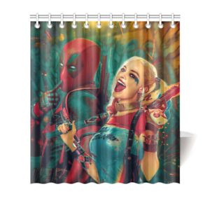 Harley Quinn And Deadpool Shower Curtain Bath Decor