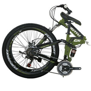 G6 26/'/'  Folding Mountain Bike  Full Suspension  Shimano 21 Speed Armygreen