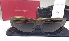 802234c36d Salvatore Ferragamo Men s Square Sunglasses Wood Dark Green Brown Gray  SF686S