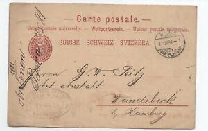 Charmant 1881 Lettre Suisse Pour Allemagne A Voir Pourtant Pas Vulgaire