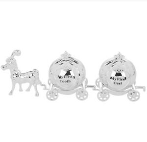 SET OF 1ST TOOTH AND CURL SILVER PLATED BABY CHRISTENING GIFT
