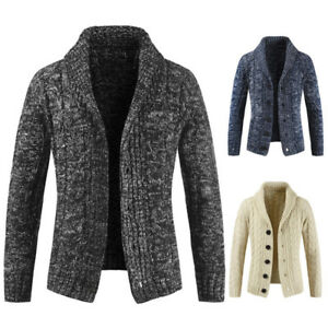 Mens-Chunky-Collar-Cardigan-Sweater-Shawl-Knitted-Jumper-Coat-Tops-Jacket