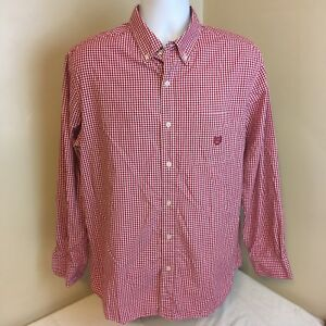 Chaps-Mens-Shirt-Red-White-Check-Gingham-Plaid-Long-Sleeve-Large-Free-Shipping