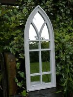 Shabby Chic Arch Mirror, Weathered Window Style Bordering Clean Fitting Mirrors