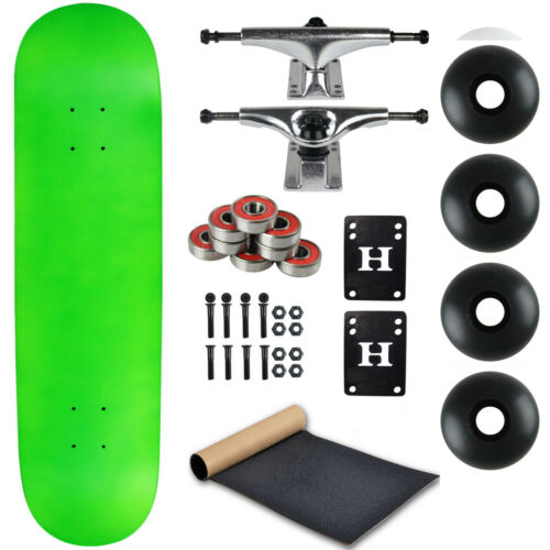 """Moose Complete Skateboard Neon Green 8.25/"""" With Silver Trucks and Black Wheels"""