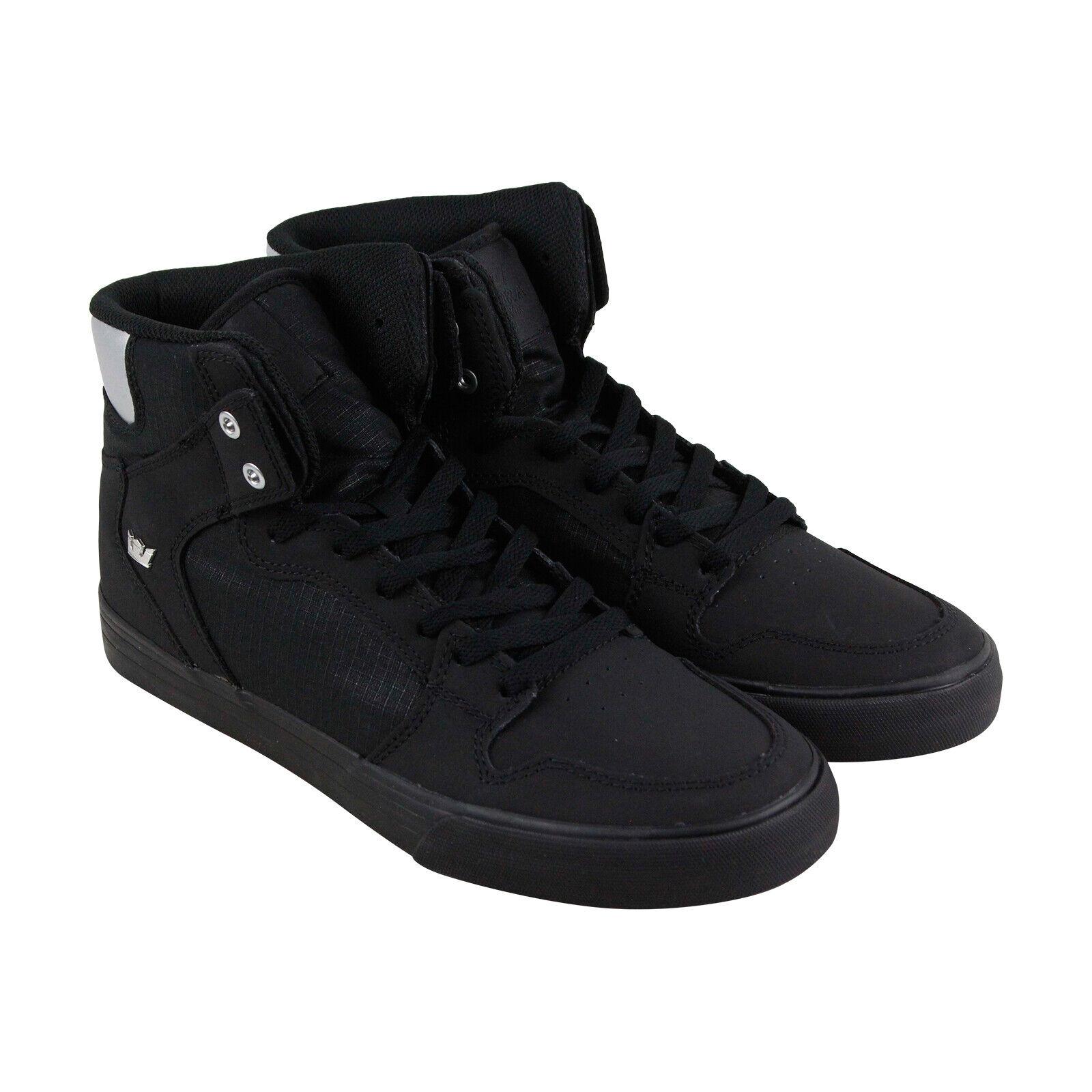 Supra Vaider Para Hombre Negro Nubuck Zapatos Tenis altas con cordones