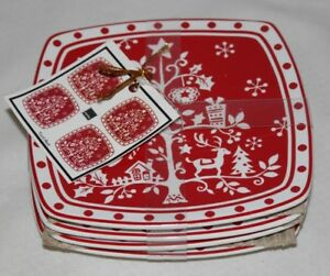 222-Fifth-Tivoli-Red-Square-Porcelain-Holiday-Appetizer-Plates-Set-of-4-New