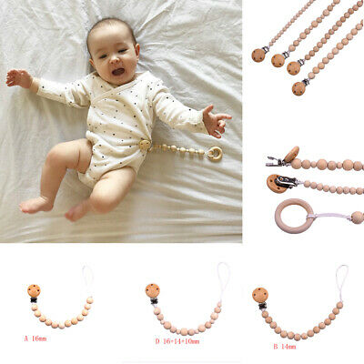 Baby Wood Beaded Pacifier Clip Chain Nipple Holder Infant Soother Teether