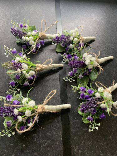 Set of 6 Buttonhole Wedding Flowers Lavender /& Blue Bells With Pin Attached