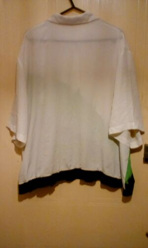 Chest 52 Womens Vert Short Blouse Button Sleeves White Inch Jacques Batwing UU6RSq04