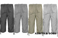 MENS PLAIN 3/4 LENGTH ELASTICATED WAIST SUMMER COMBAT CARGO SHORTS PANTS