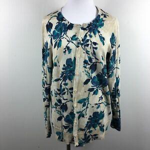 Croft & Barrow 1X Cardigan Sweater Button Up Floral Beige Blue 3/4 Sleeve Cotton