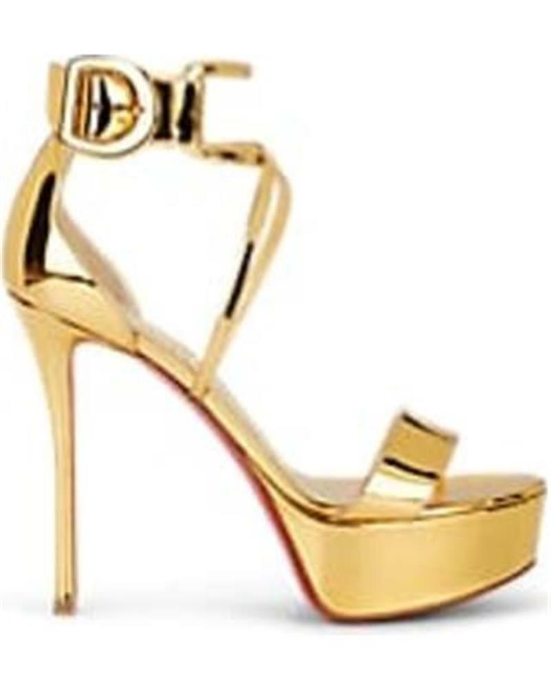 Christian Louboutin CHOCA 130 Metallic Ankle Cuff klackar Sandals skor guld  1095