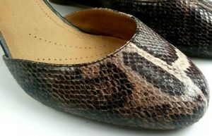 Clarks-Artisan-Snake-Print-Leather-Ankle-Strap-Wedge-Heels-Womens-Size-10M-US
