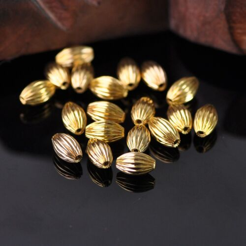 50pcs 8x5mm Gold Plicated rugby Forme Métal Laiton Alloy Loose Spacer Beads