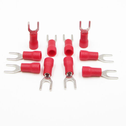 50PCS SV1.25-4S 22-16AWG Terminals Fork type terminal Insulated terminals Red
