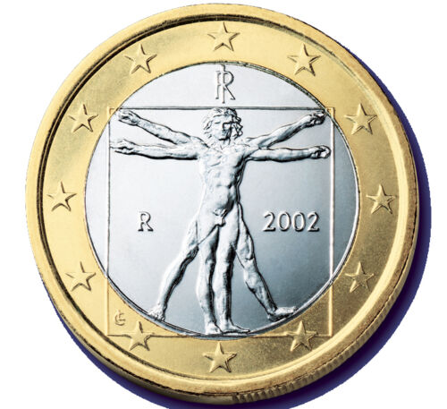 ITALY 1 EURO 2002 COMMEMORATIVE COIN Vitruvian Man Leonardo Da Vince