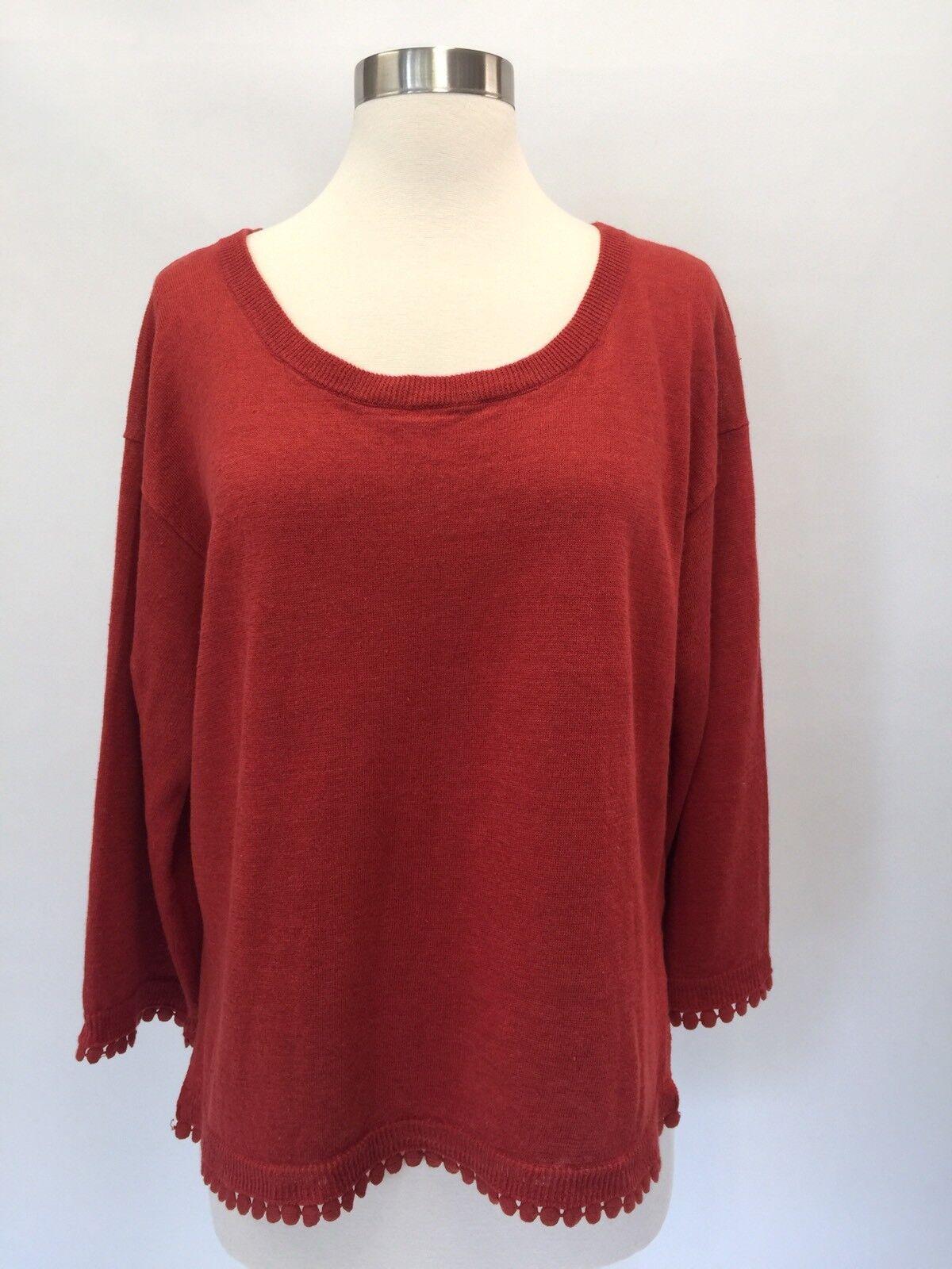 J Crew Women Linen sweater with pom-pom trim G5362 orange Mustard Brown Size M