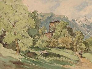 CARL-WAGNER-GERMAN-CASTLE-BERGLEN-ALPS-OLD-ART-PAINTING-POSTER-PRINT-BB5059A