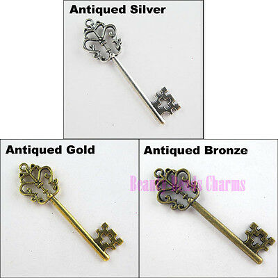 5Pcs Tibetan Silver Gold Bronze Big-Key Charms Pendants 18x58.5mm