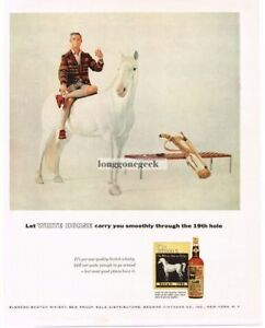 1956-White-Horse-Scotch-Whiskey-Golf-Bag-Man-in-Plaid-Jacket-Vtg-Print-Ad