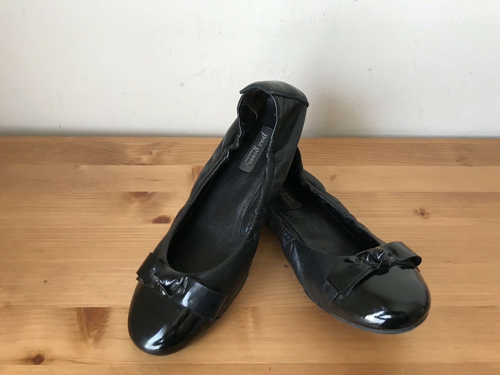 PAUL GREEN Black Patent Leather Cap Toe Ballet Flats Slip On Knot Bow UK4 US 6.5