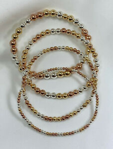 14K-Tri-Colored-Silver-Gold-Rose-Gold-Bead-Stretch-Bracelet-2mm-to-6mm