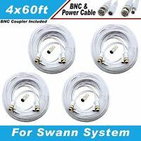 White Premium 240ft Cctv Surveillance Bnc Cables For 8 Ch Swann System Dvr8-1000