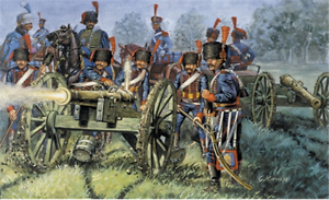 Italeri 1:72 - 6018, francés Garde-artillería, 11fig, 8 caballos de 2 cañones,
